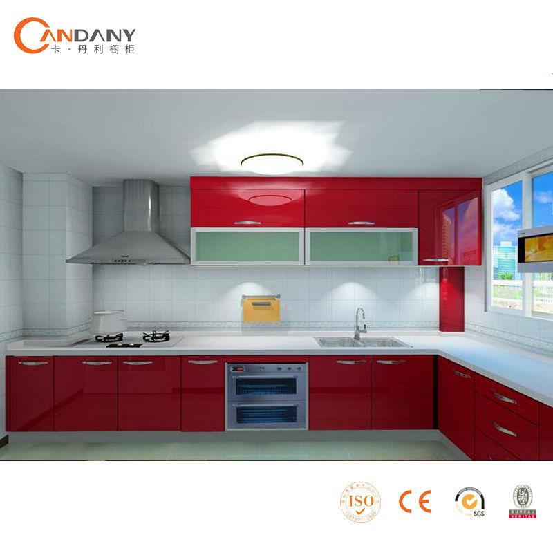 Elegante rojo pvc gabinete de cocina comprar gabinetes de for Comprar gabinetes de cocina