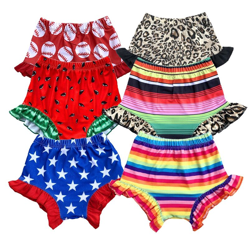 Latest Design Shorts Baby Girl Clothing Serape Ruffle Bummies Infants and Toddler Summer Pants Wholesale Baby Boutique Clothes