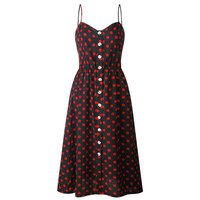 2019 Latest Summer Dress Vintage Spaghetti Strap Polka Dots Sweet Comfortable Fabric Wholesale Heart Neck