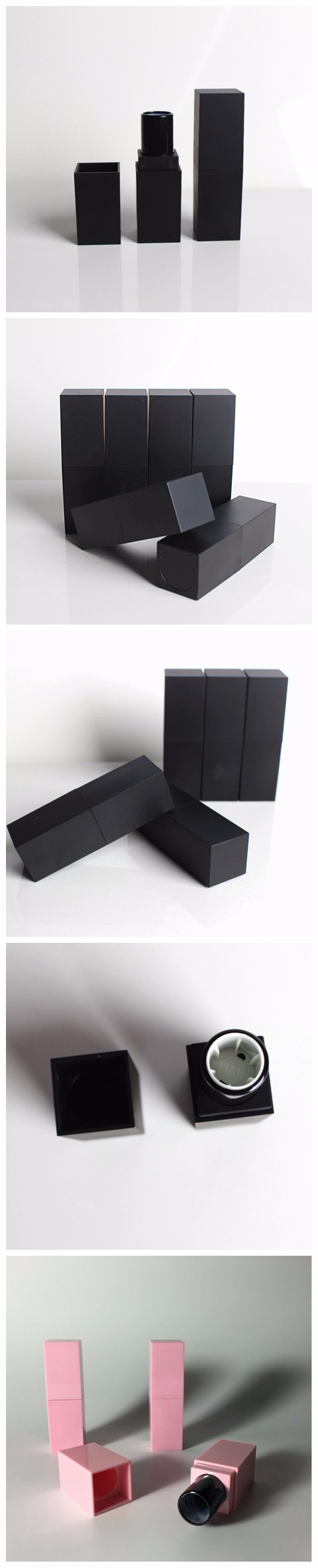 Free samples empty 5g square matte black / pink plastic lipsticks packing with UV spray coating