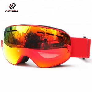 Wholesale 2018 newest branded high end racing skis goggles anti fog scratch resistant snow ski glasses