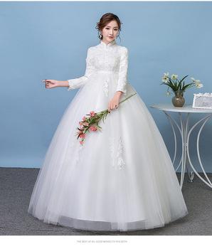 Zh1554g Plus Size Pregnant A Line Wedding Dresses High Neck Muslim Arabic  Lace Appliques Long Sleeves Bridal Gown For Fat Brides - Buy Elegant Long  ...