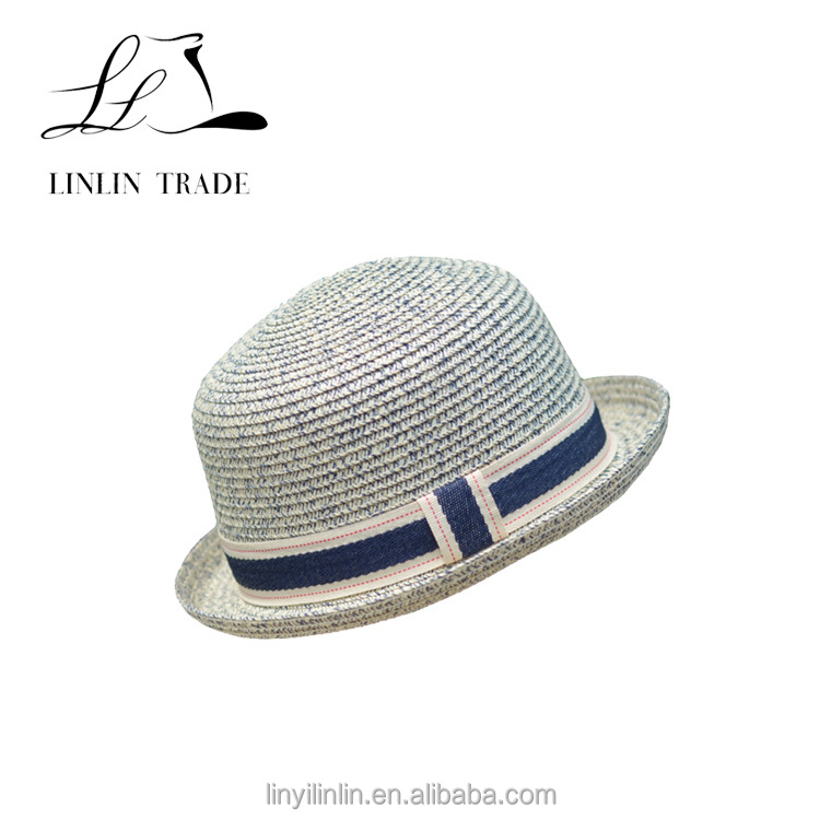 New style caps blue and white unisex striped homburg straw hat