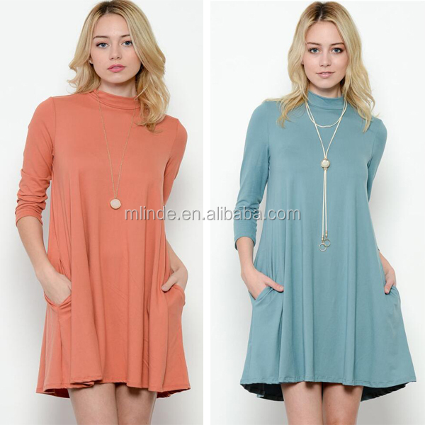 Women Clothing Dress 2017 New Fashion Design Solid Knit Mock Neck Korean Style Plus Size Mini Swing Dresses For Ladies