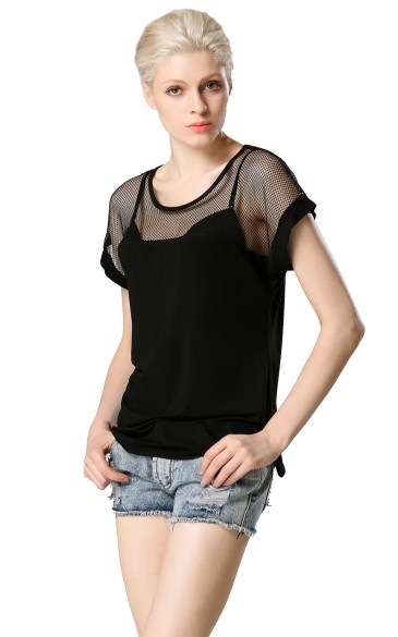 2015 New summer style fashion Women's Cotton Lace Mesh Patchwork short sleeve T Shirts, Black all-match tops tees 51