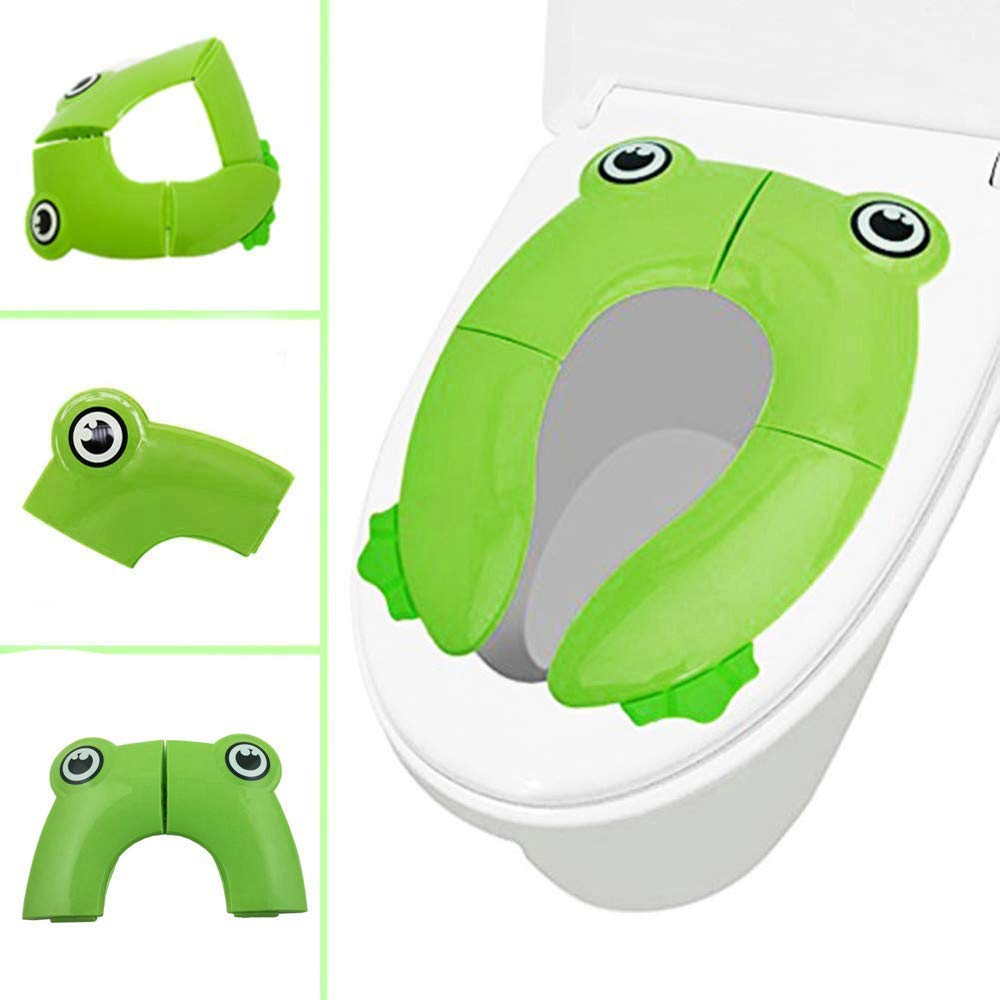 SHJNHAN Seat Cover Portable Folding Non Slip Pads Potty Training Seat Kids Toilet Potty Seat Cover Pads (Green)