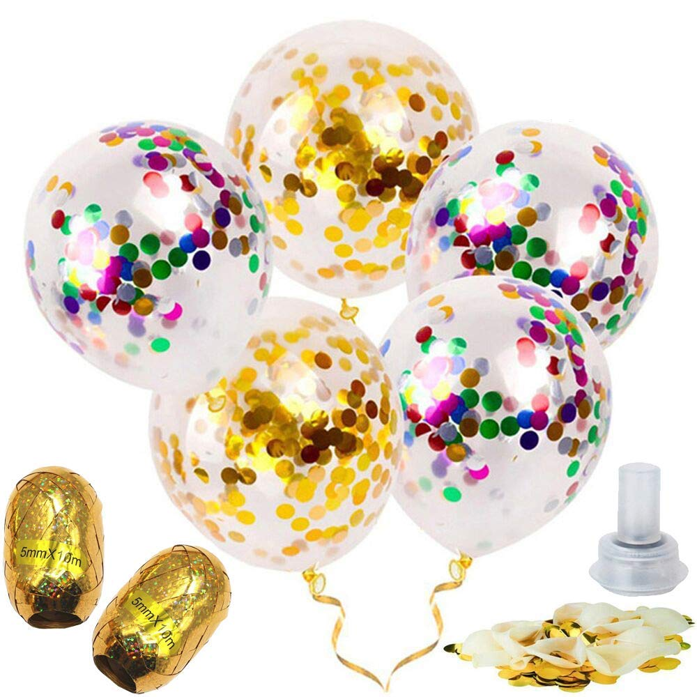 Famleaf 23pcs/set 12 Inches 10pcs Gold Confetti Balloons and 10pcs Mixed Color Confetti Balloons and 1pcs Electrostatic Cloth and 2 Roll 10m Rose Gold Balloon Ribbon for Birthday Wedding Decorations and Party Supplies
