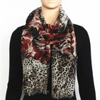 Leopard and Rose Print Wool Scarf