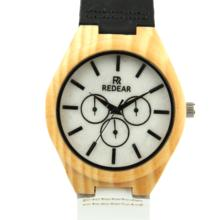Olive wood stone watches black and white leather belt leisure women lady wrist watch