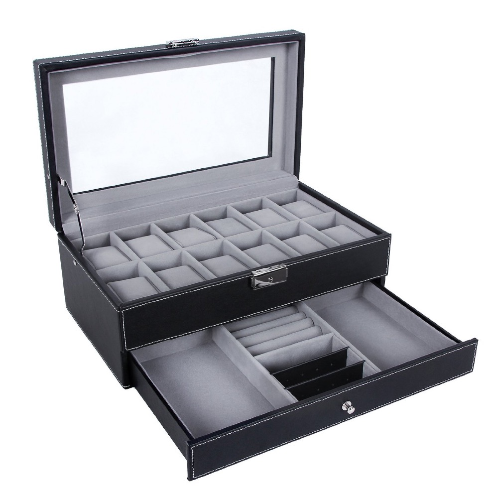 2 layer High Quality PU leather watch box from china factory