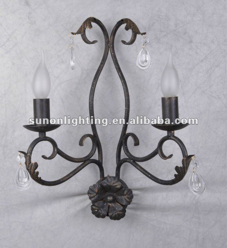 Iron Cover Clean Drop Crystal Decorate Islamic Wall Light