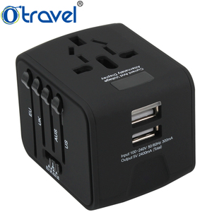 Universal Dual USB Multi Plug Travel Adapter, Led light travel universal adapter,universal travel adapter with usb