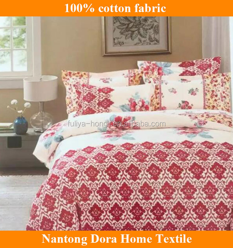 2017 High quality reactive printed 100% cotton bedding set fabric with flower design bed sheet fabric