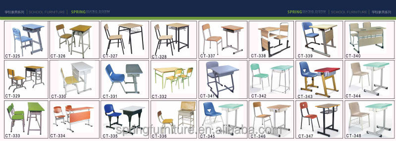CT 328 Modern New Design School Desk And Chair Used School Furniture  Student Chair