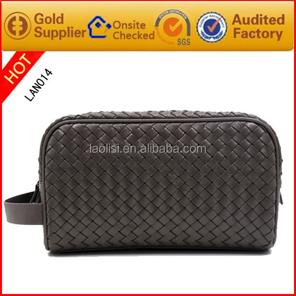 Weave bags Genuine leather toilet bag and wash bags for men
