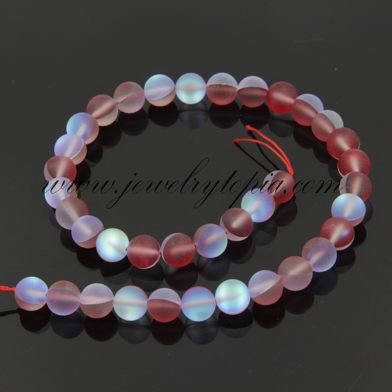 SP0749 Wholesale China Cheap Red Frosted Imitated Opal Glass Round Beads