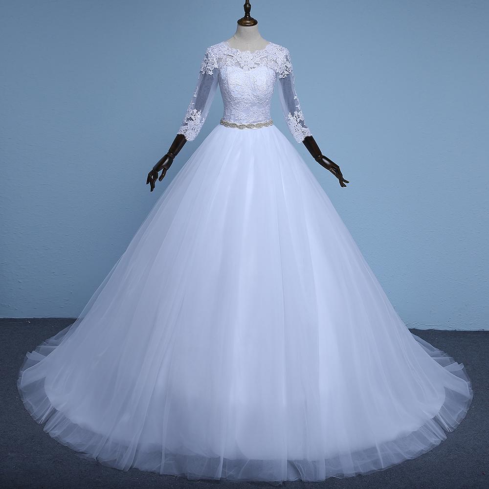 Venta al por mayor vestido novia manga tres cuartos-Compre online ...