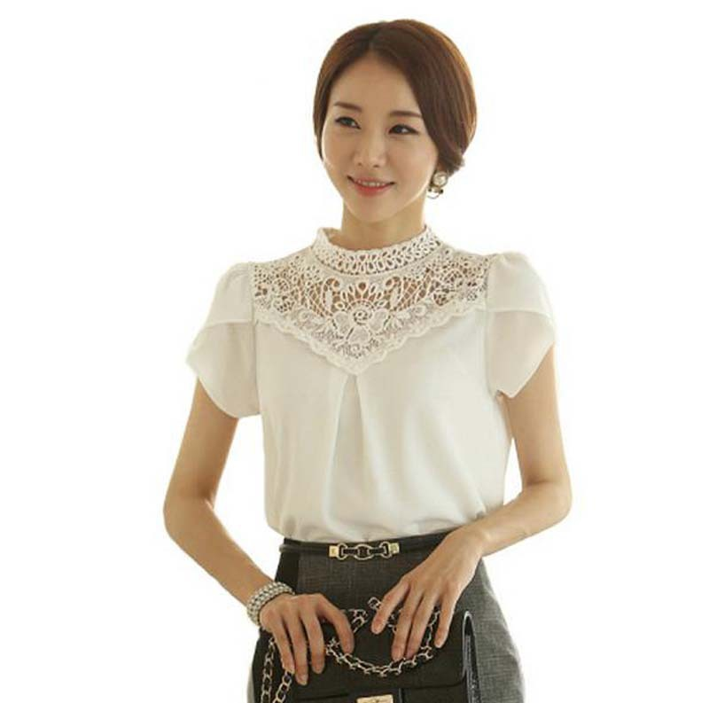 Women Blouses White Crochet Lace Chiffon Blouse Short Sleeve Summer Style Womens Tops Fashion 2015 Ladies Office Shirts
