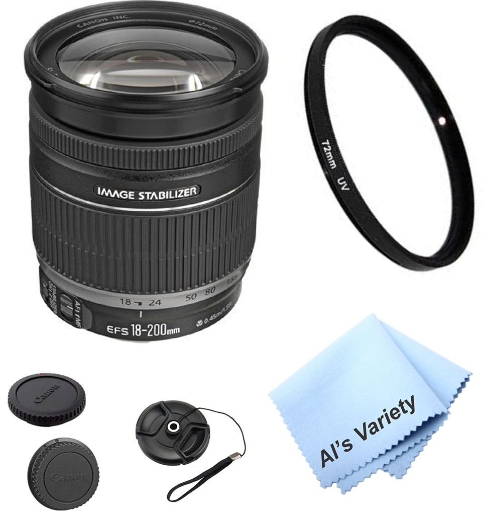 Canon EF-S 18-200mm f/3.5-5.6 IS Zoom Lens Bundle (White Box) Kit With + High Definition UV Filter + Al's Variety Premium Cleaning Cloth + Great Value Bundle