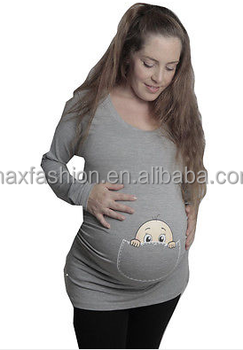 f5634ba1 Maternity T-shirt with baby peeking out of pocket - Gray pregnancy peekaboo  T-