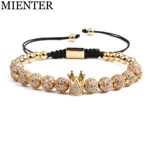 Wholesale fashion men jewelry copper bead gold plating crown charms beaded bracelet
