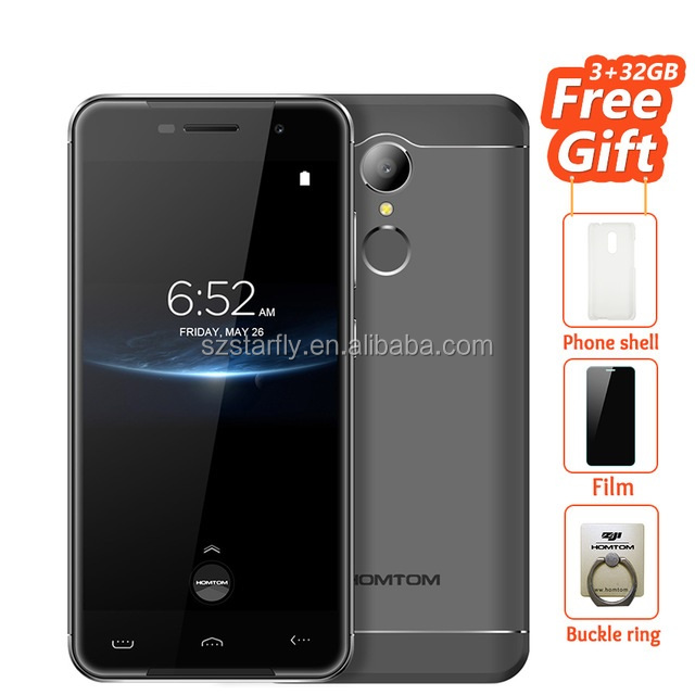Homtom HT37 Pro Double Speaker Mobile Phone 5.0 Inch HD Mtk6737 Quad Core Android 7.0 phone 3GB+32GB Fingerprint 4G Cellphone