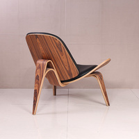 Plywood Chair Shell With Beech Wood Legs And Soft