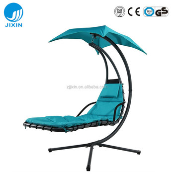 2017 Hanging Chaise Lounger Chair With Umbrella Garden Air Porch Arc Stand  Floating Swing Hammock Chair