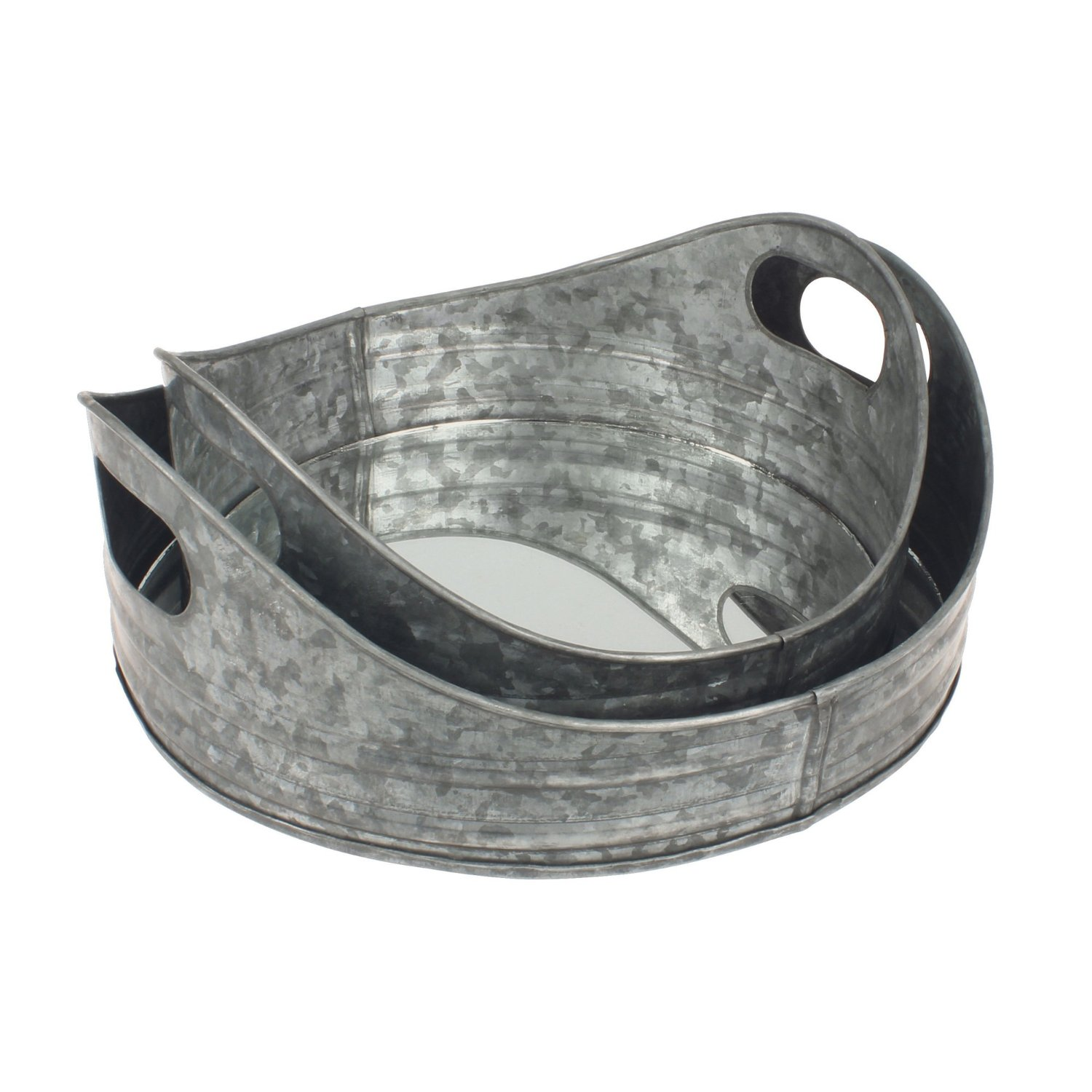 Buy Stonebriar Round Nesting Galvanized Metal Serving Tray Set With Handles Rustic Butler Trays For Serving Food And Drink A Unique Coffee Table Centerpiece Or Desk Organizer For Documents In Cheap Price