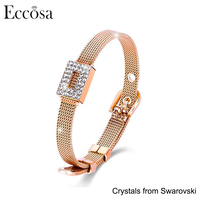 2017 Newest Fashion Watch Strap Bracelet Mesh Cuff Luxury Bracelet Crystal From Swarovski