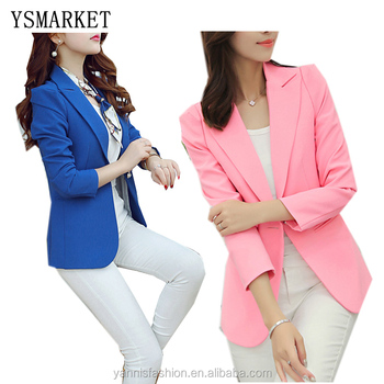 New Long-sleeved Slim Women Blazers And Jackets Small Women Suit Korean Version (pink/Blue/green/blue) Ladies Blazer