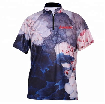 wholesale cheap china manufacture full sublimation pint fishing clothes custom polyester fishing shirt
