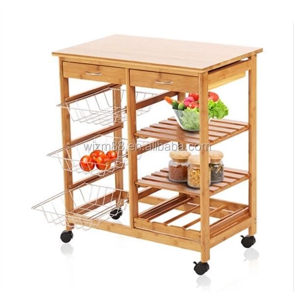 Bamboo Kitchen Trolley, Bamboo Kitchen Cart U0026 Trolley Wine Rack Holders  Wholesale