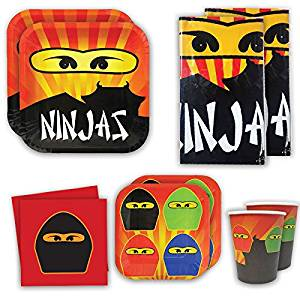 Blue Orchards Ninja Master Deluxe Party Packs (70 Pieces for 16 Guests!), Ninja Party Supplies, Ninja Table Decorations