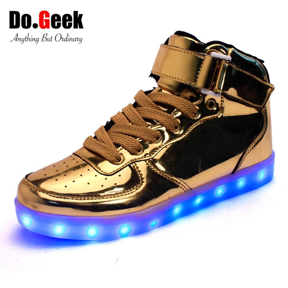 2016 Dogeek High Top Led Shoes Women And Men Fashion Light