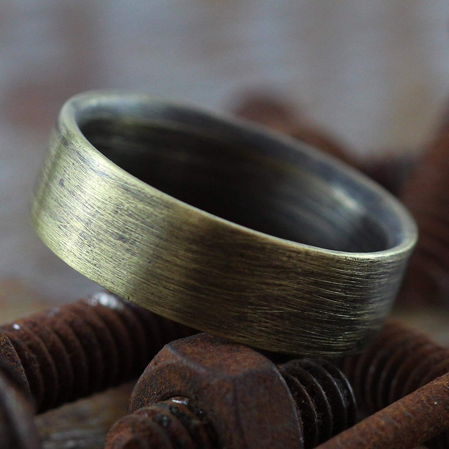 Get Quotations · Carpe Diem Jewellery Unique Wedding Band Mens Ring Rustic Antique Oxidized Brass Custom Engraved: Inexpensive Wedding Bands For Men Duck At Reisefeber.org