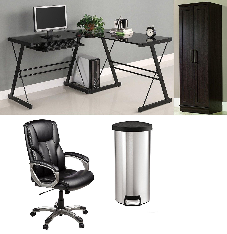 Best Office Furniture Set - Corner Computer Desk, Glass,Black, - Office Chair High-Back Black, - Storage Cabinet, Dakota Oak, - Stainless Steel Trash Can, Round Step 8 Gal.