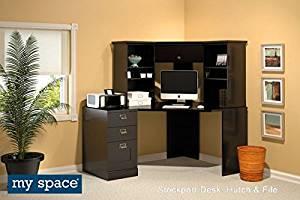 "Bush Corner Office Computer Desk Desk: 63 1/2"" W X 47 1/2"" D X 29 3/8"" H Hutch: 63 3/8"" W X 35 3/8"" D X 29 7/8"" H File: 15 5/8"" W X 22 1/2"" D X 29 3/8"" H - Classic Black finish"