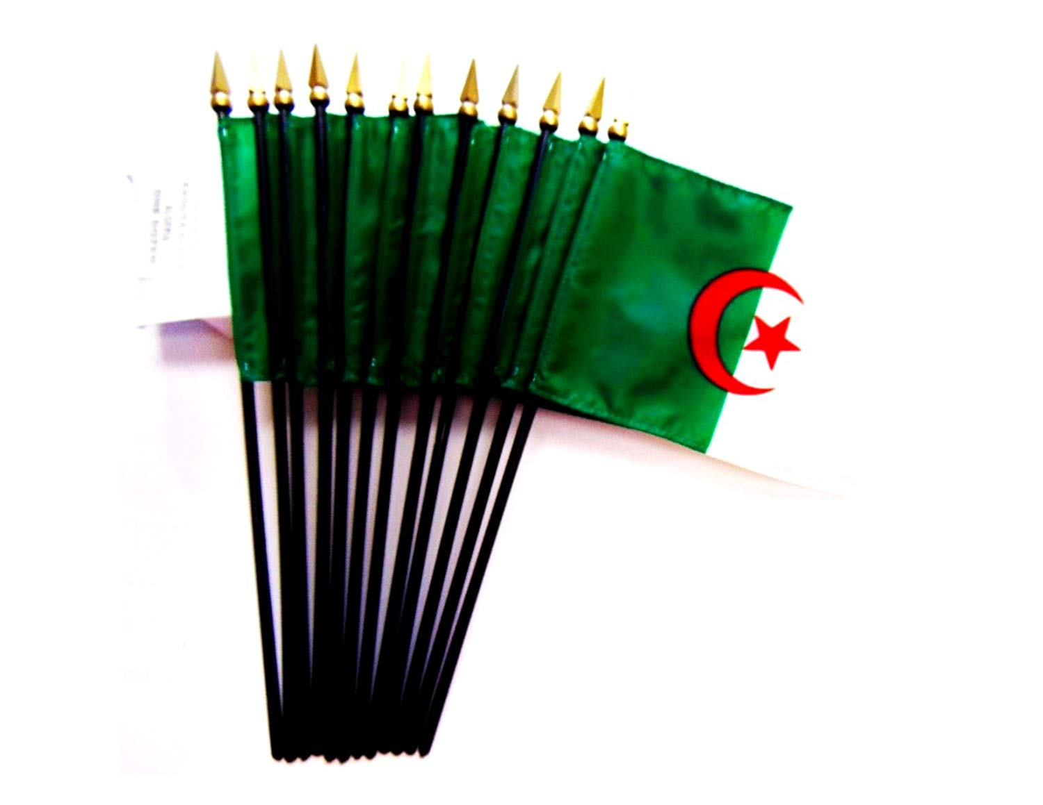 "MADE IN USA!! Box of 12 Algeria 4""x6"" Miniature Desk & Table Flags; 12 American Made Small Mini Algerian Flags in a Custom Made Cardboard Box Specifically Made for These Flags"
