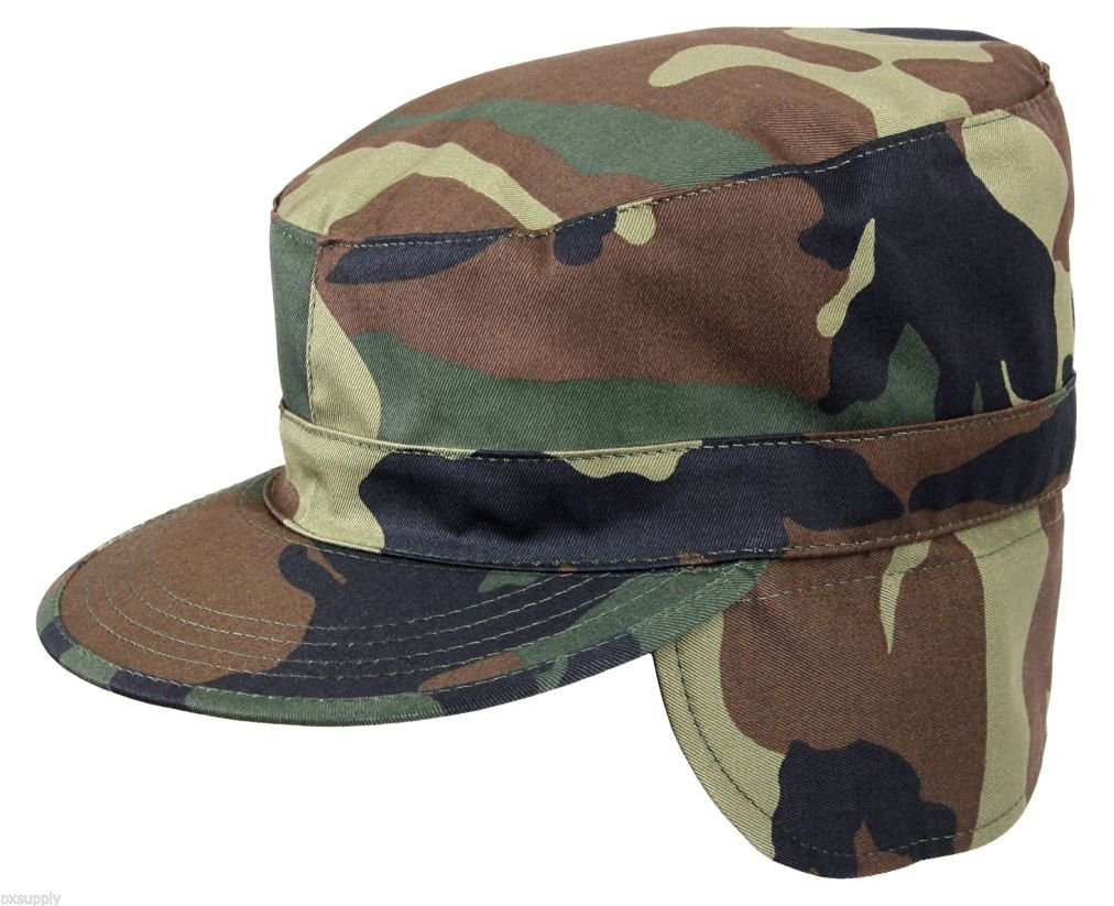 56b9b0c67b8 Military Ear Flap Fatigue Caps Army Patrol Hat Winter Hat woodland