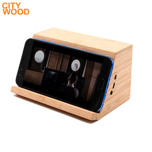 2018 new design ladder-shaped bamboo induction speaker with phone holder