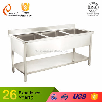 Restaurant Kitchen Size premium restaurant kitchen sink bench with drain board on the