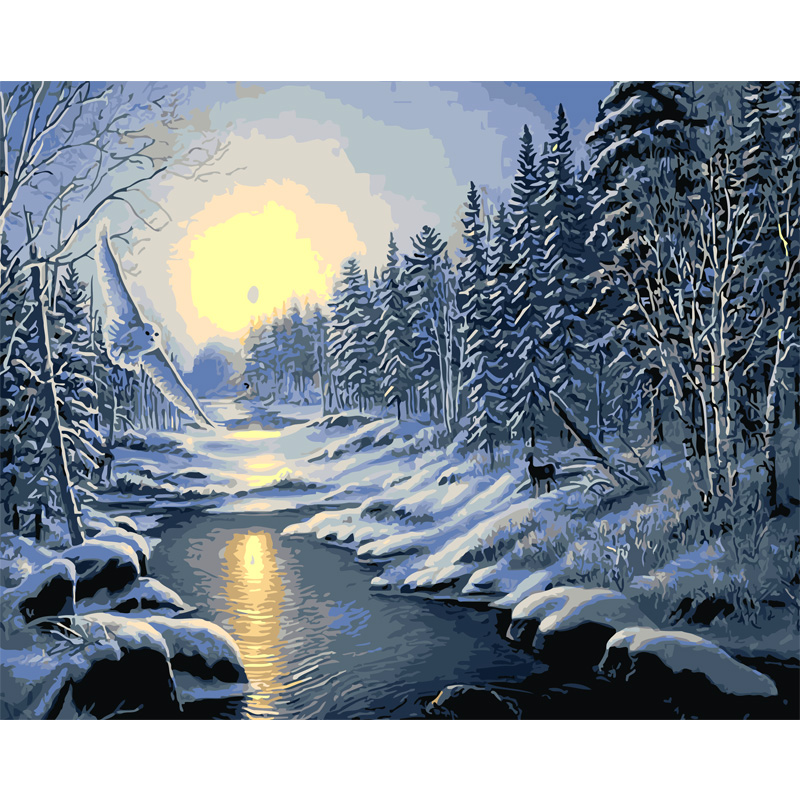 Snow Scenry Wallpaper Large Beautiful Scenery Wall Painting