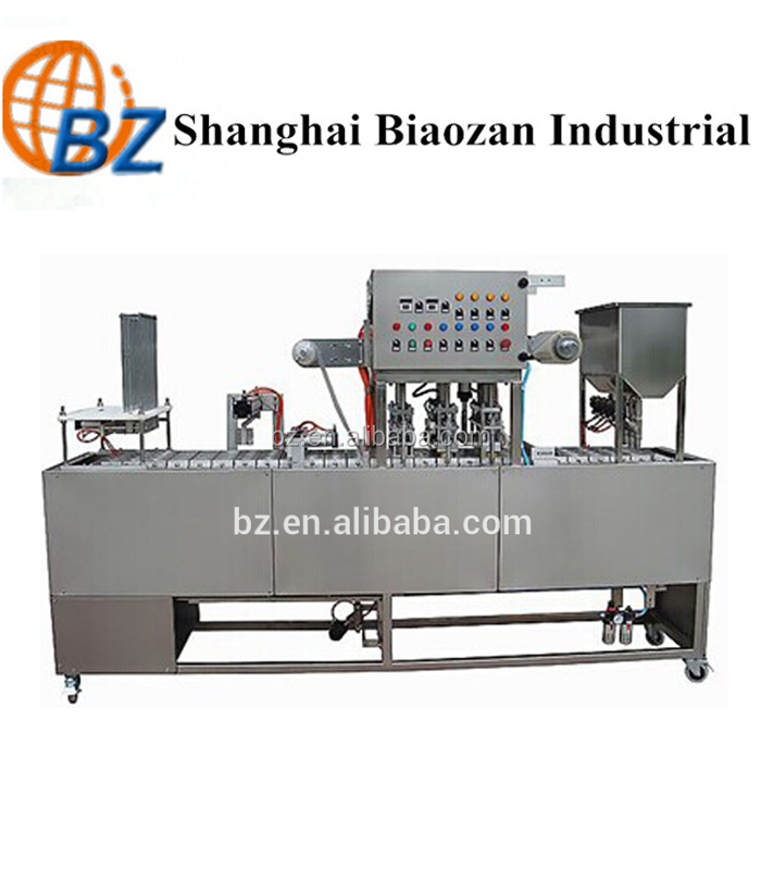 High speed yogurt cup plastic filling and sealing machine