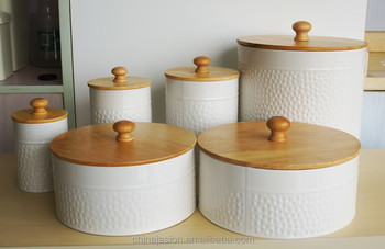 Food Grade Kitchen Food Storage Ceramic Canister With Wooden Lid - Buy  Wooden Kitchen Canisters,Ceramic Canister With Spoon,White Ceramic Kitchen  ...