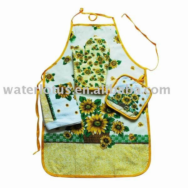 Wholesale printing kitchen apron oven glove set Cheap Apron Manufacturers for cooking or microwave oven