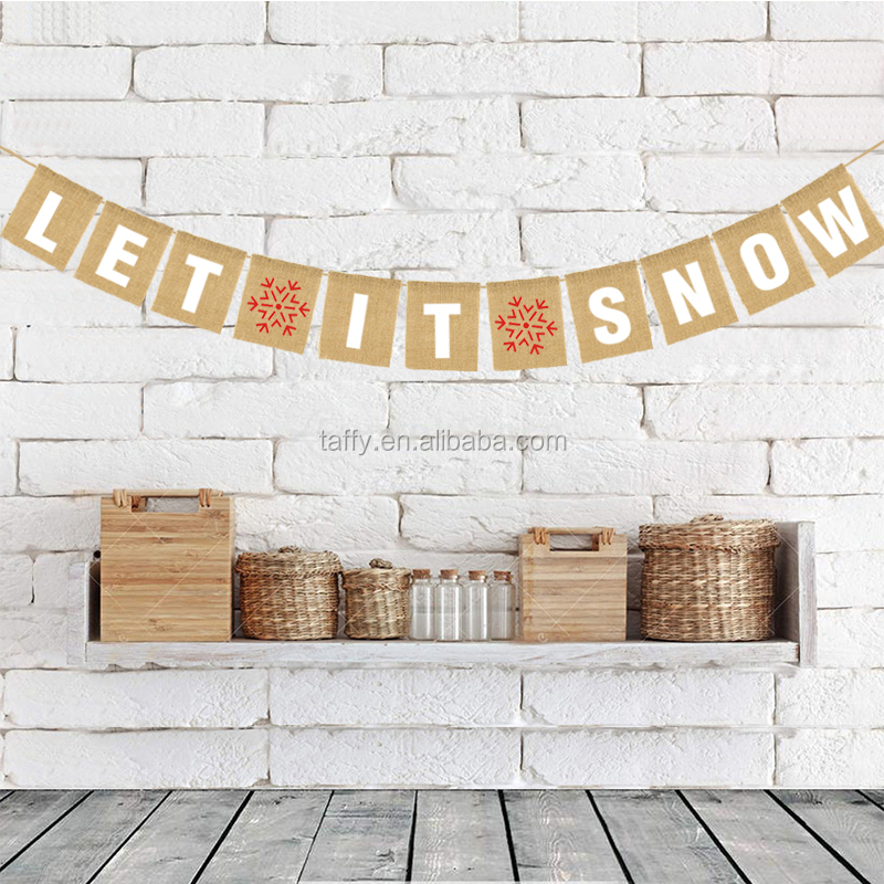 Hessian Burlap snowflake Christmas home decor LET IT SNOW Bunting Banner garlnad