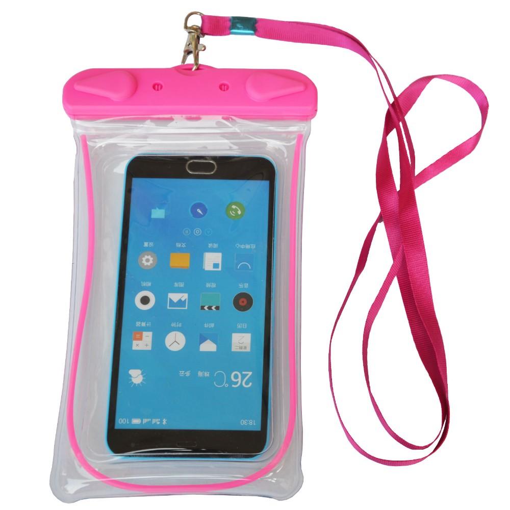 ed4ac6c7ef4 Teléfono Celular resistente al agua luminosa bolsa funda de la bolsa del  teléfono Protector y cordón