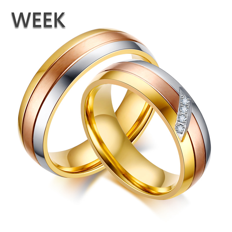 3Pcs MOQ Fashion Week Jewelry Zircon 3Colors Stripes 316l Stainless Steel Couple Rings Jewelry