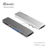 "Gopod Dual USB 3.1 Type C Male to Thunderbolt 3 TYPE-C Hub with SD/Micro-SD Card Slot for MacBook Pro 13"" and 15"""